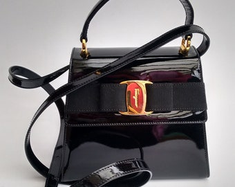 FERRAGAMO Bag. Salvatore Ferragamo Vintage Black Patent Leather Vara  Shoulder Bag . Italian designer purse. 050cf9e0d543d