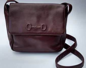 GUCCI Bag. Gucci Vintage Brown Leather Shoulder   Crossbody Bag. Italian  Designer Purse - Tom Ford era. c612b402a1a2