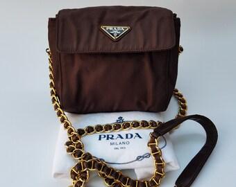 PRADA Bag. Prada Tessuto Vintage Brown Shoulder   Crossbody Bag with chain  straps. Italian designer purse. 1e998996a6715