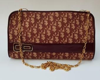 74a051f7d8af DIOR Bag. Christian Dior Oblique Vintage Burgundy Monogram Shoulder Bag    Clutch. French designer purse.