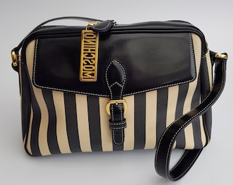 0d84c16088b84 MOSCHINO Bag. Moschino by Redwall Vintage Cream and Black Striped Print  Shoulder Bag. Italian designer purse.
