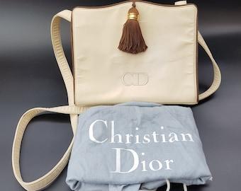 04636ff1856a DIOR Bag. Christian Dior Vintage Cream and Brown Shoulder   Crossbody Bag  with Tassel. French designer purse.