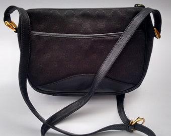 GUCCI Bag. Gucci Vintage Black Monogram Crossbody   Shoulder Bag. Italian  Designer Purse - Tom Ford era. 3f41444e6979
