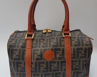 FENDI Bag. Fendi Vintage Zucca Black Tan and Brown Bowling   Holdall Bag.  Italian designer purse. 19de543c47c