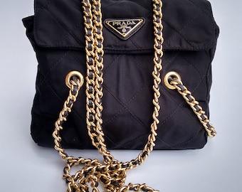 39c680388a75 PRADA Bag. Prada Tessuto Vintage Black Quilted Shoulder Tote Bag with chain  straps.. Italian designer purse.