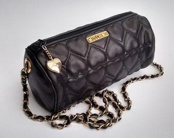13f5f2d5ef MOSCHINO Bag. Moschino Black Heart Quilted Leather Shoulder Bag Clutch.  Italian Designer Handbag.