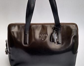 f606401cd26c79 PRADA Bag. Prada Vintage Brown Tote Bowling Handheld Bag . Italian designer  purse.
