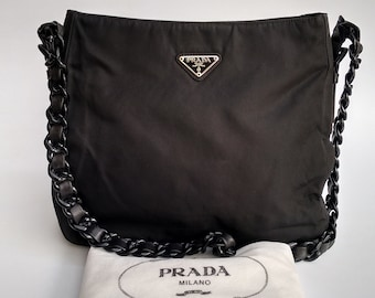 f3dfbbbfc18d PRADA Bag. Prada Tessuto Vintage Black Shoulder Tote Bag with chain  straps.. Italian designer purse.
