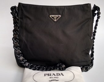 997682270dc8 PRADA Bag. Prada Tessuto Vintage Black Shoulder Tote Bag with chain  straps.. Italian designer purse.