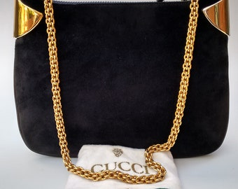 GUCCI Bag. Gucci Vintage Dark Blue   Navy Suede and Leather Shoulder Bag.  Italian Designer purse with gold tone chain. 36d4328aed88