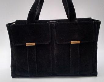 3ed34f411df Sale! YSL Bag. Yves Saint Laurent Vintage Black Suede Leather Bag . French  designer tote bag.