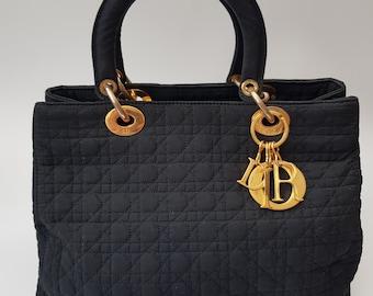4c68e617ea9 DIOR Bag. Christian Dior Lady Dior Vintage Black Cannage Quilted Shoulder  Bag . French designer purse.