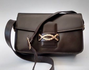 59692a0ad3 Céline Vintage Brown Leather Box Bag. French designer purse.