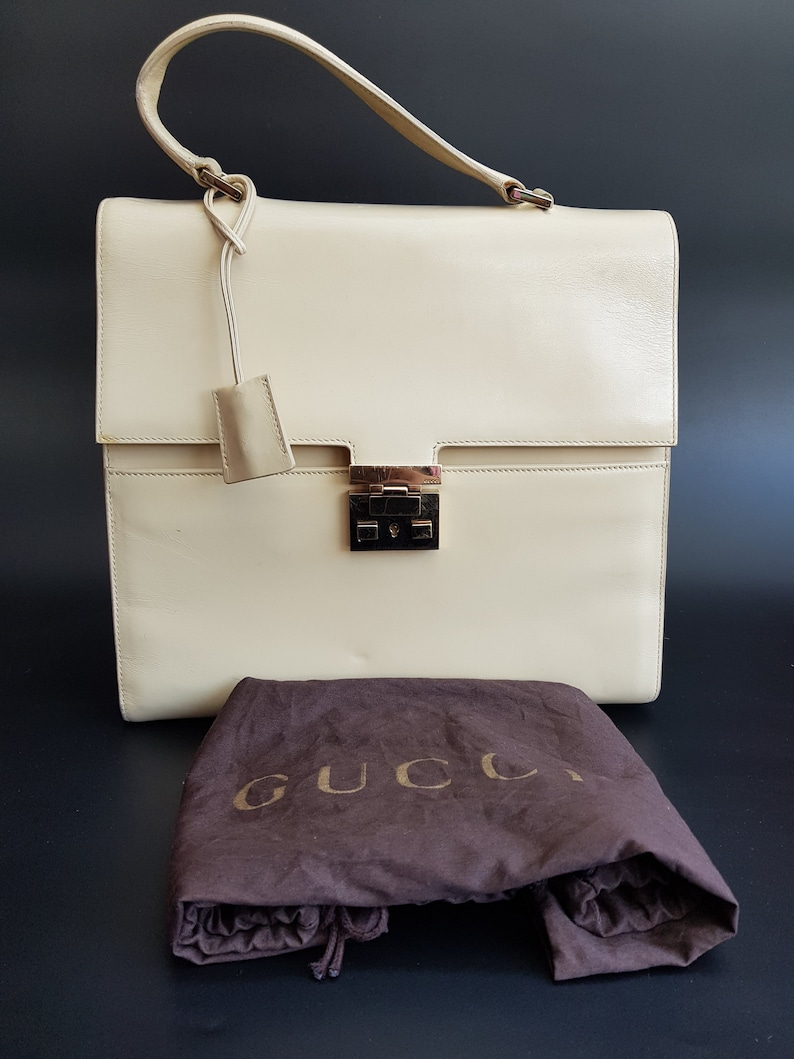 edc172321 GUCCI Bag. Gucci Padlock Vintage Cream Leather Handheld Bag | Etsy