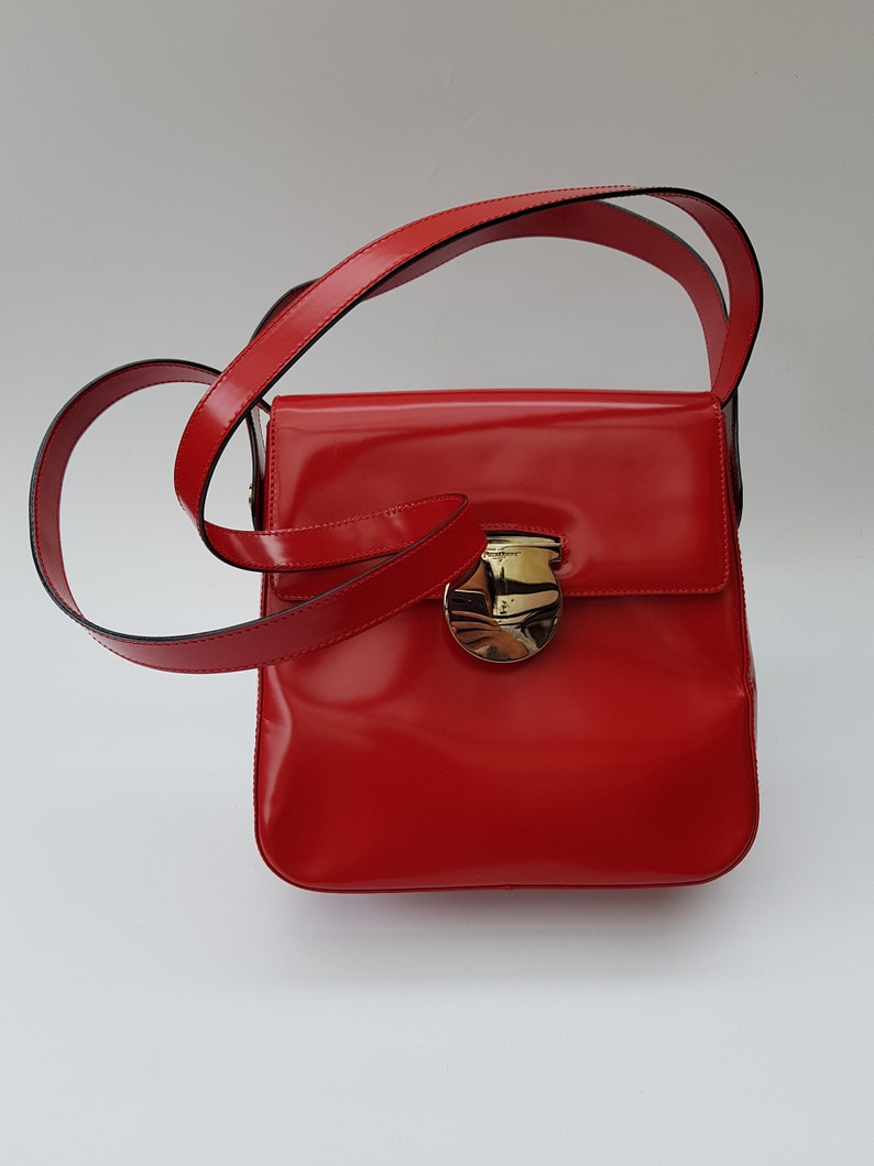 757578aaadd6 FERRAGAMO Bag. Salvatore Ferragamo Vintage Red Leather Gancini