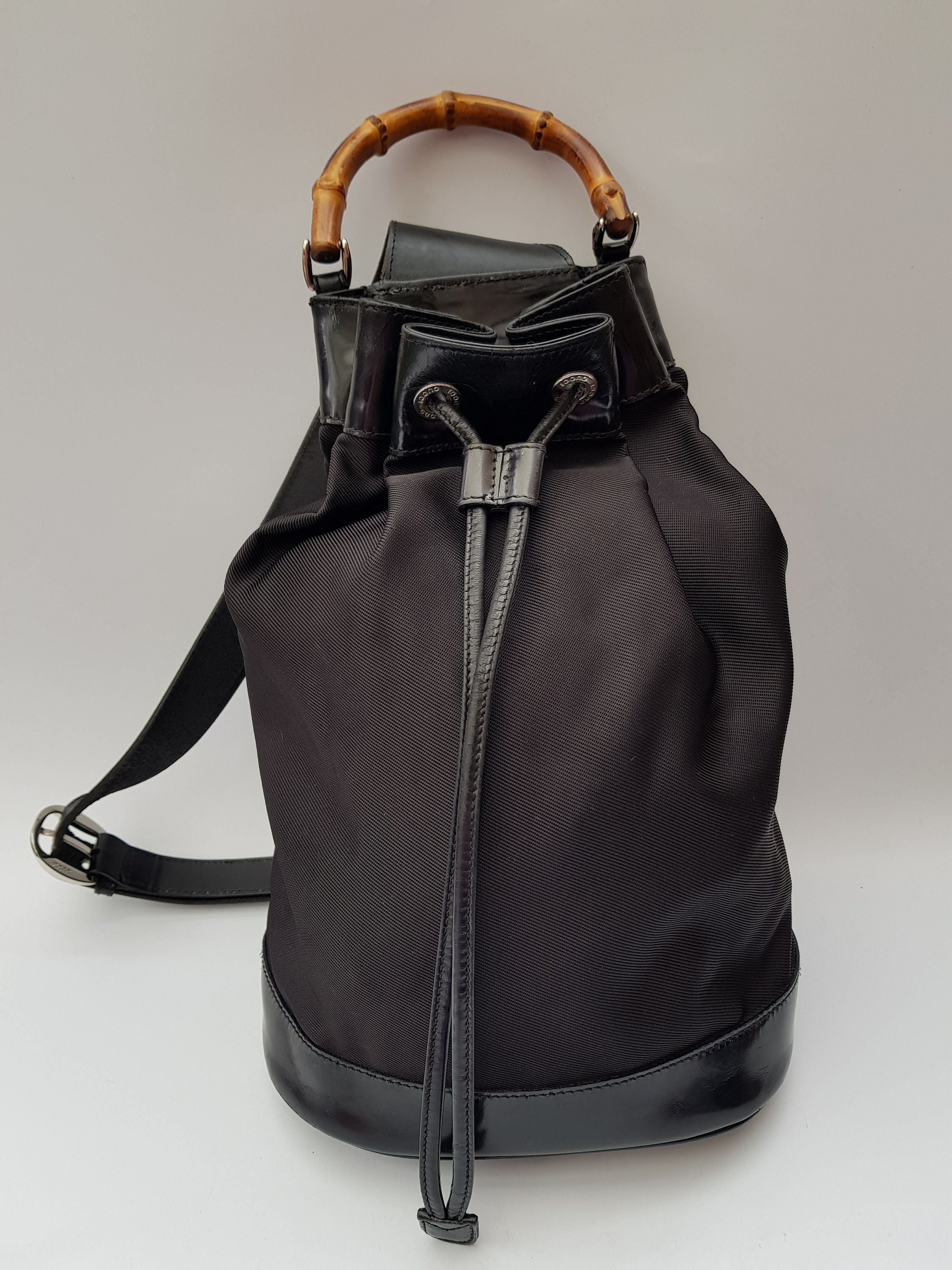 67f87ede072 GUCCI Backpack. Gucci Bamboo Vintage Black Backpack