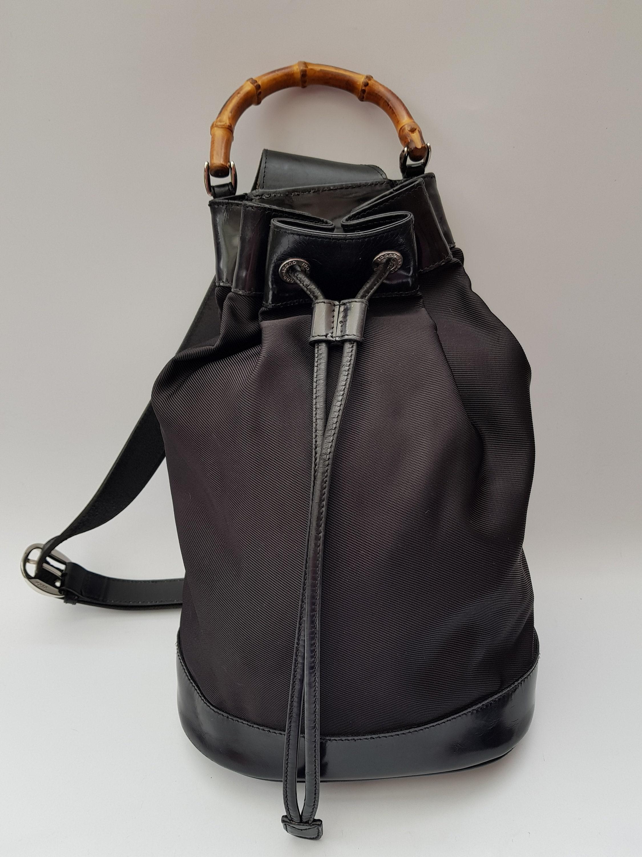 f756f7cc2fa GUCCI Backpack. Gucci Bamboo Vintage Black Backpack