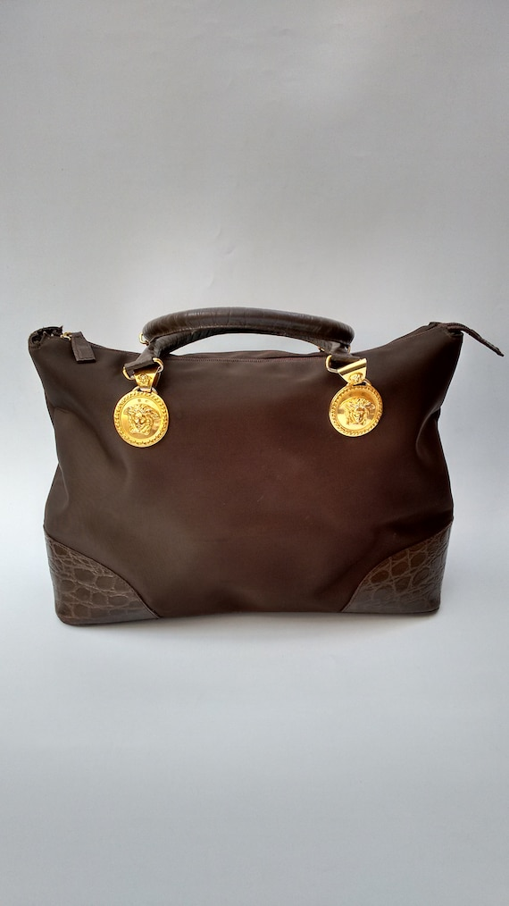 7dc359f565a VERSACE Bag. Gianni Versace Vintage Vintage Brown Bag.   Etsy