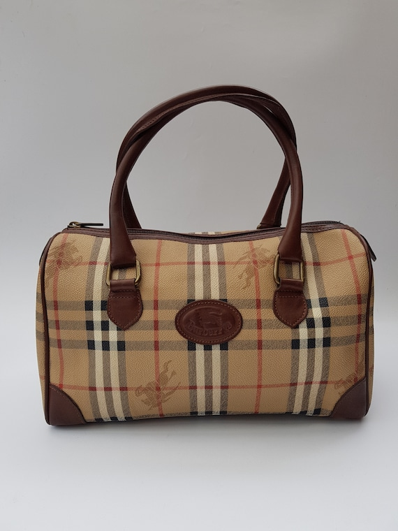 BURBERRY Bag. Burberrys Brown and Beige Check Tartan Bowling  259d0fec0a628