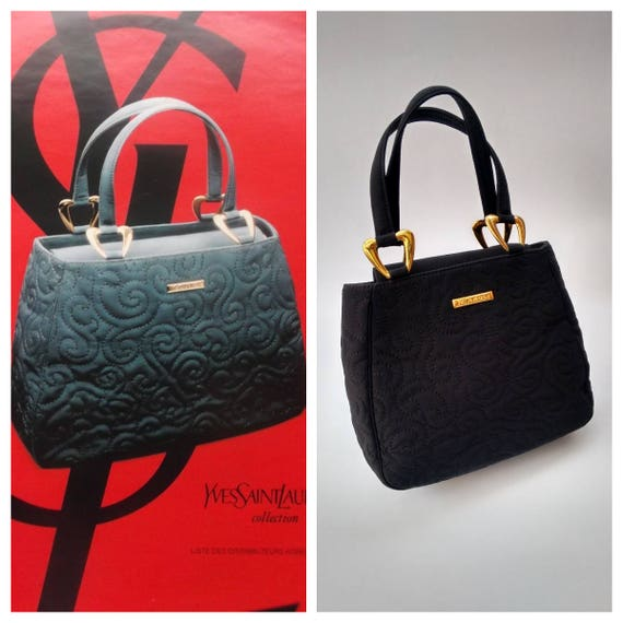 021fec82ee15 YSL Bag. Yves Saint Laurent Vintage Black Arabesque Pattern
