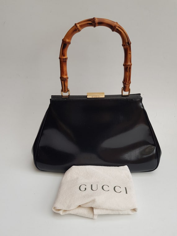 GUCCI Bag. Authentic Gucci Bamboo Vintage Black Le