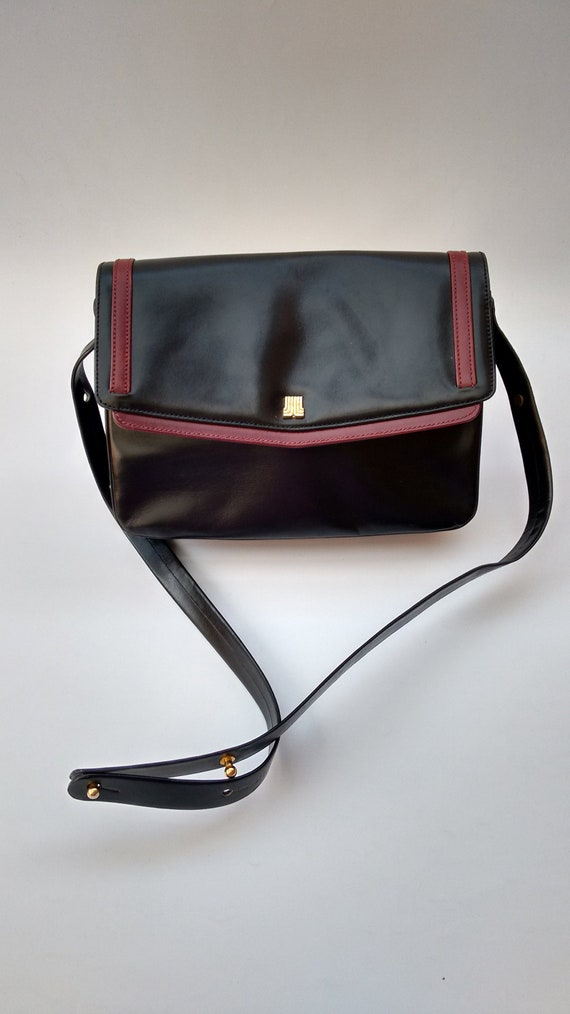 27c09829b93 Sale LANVIN Bag. Lanvin Vintage Black and Burgundy Leather   Etsy