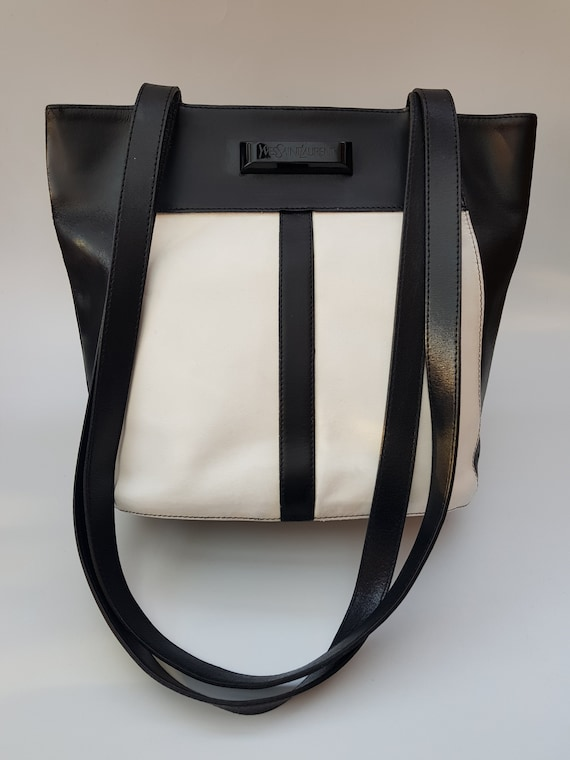 Sale YSL Bag. Yves Saint Laurent Vintage Black and White  f5ca4a270e1b9