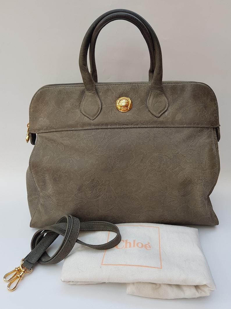 f13639262402 CHLOE Bag. Chloé Vintage Black Grey Suede   Nubuck Leather
