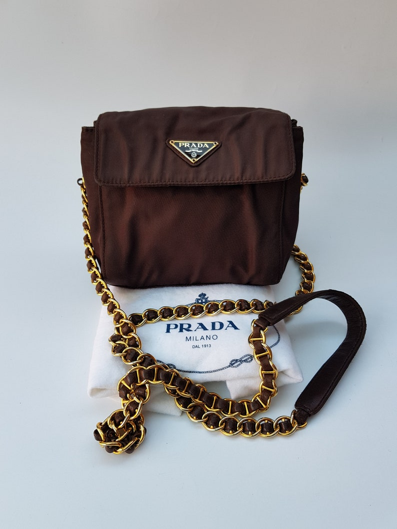 79c5a57c15f1 PRADA Bag. Prada Tessuto Vintage Brown Shoulder   Crossbody