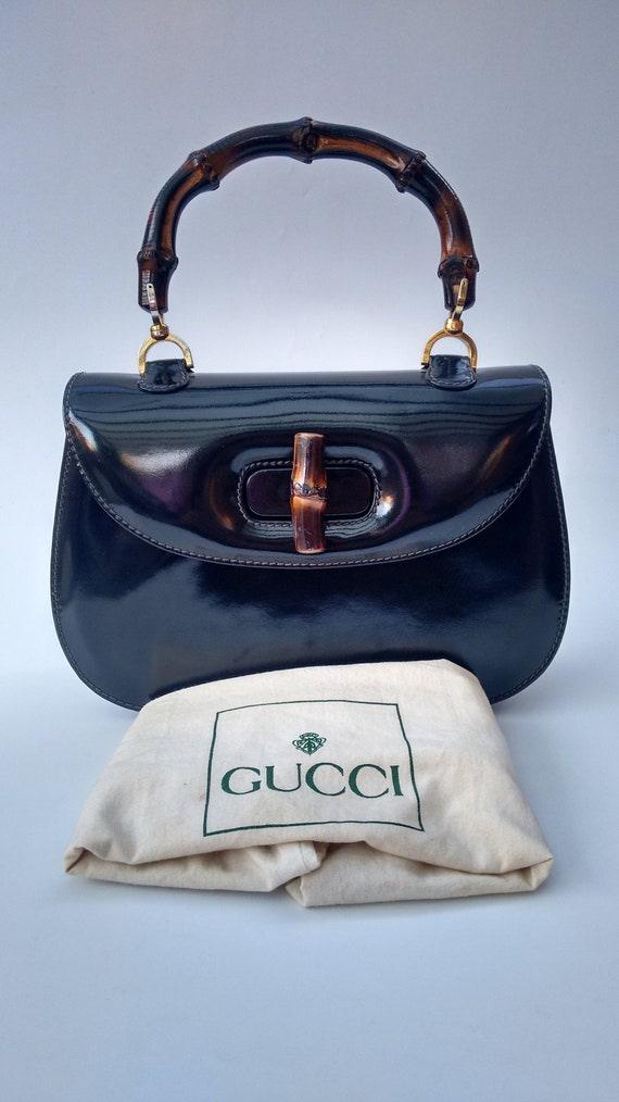 GUCCI Bag. Gucci Bamboo Vintage Navy Blue Almost Black Patent   Etsy 7046013607