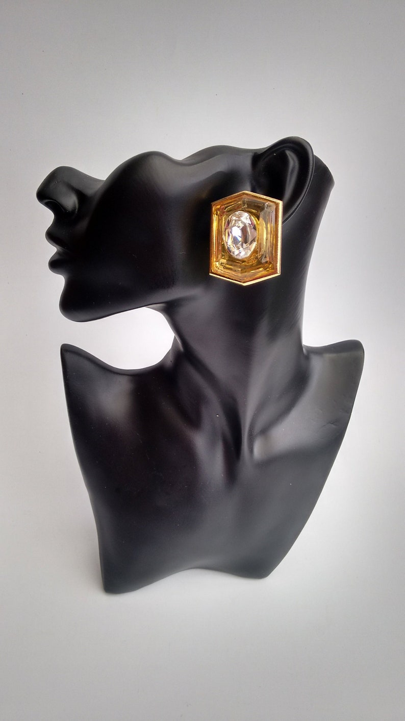 4744bdadb92 YSL Earrings. Yves Saint Laurent Vintage Yellow with White   Etsy