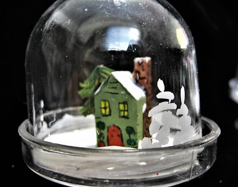Miniature Hand Made Winter Homes Under Domes Ornaments