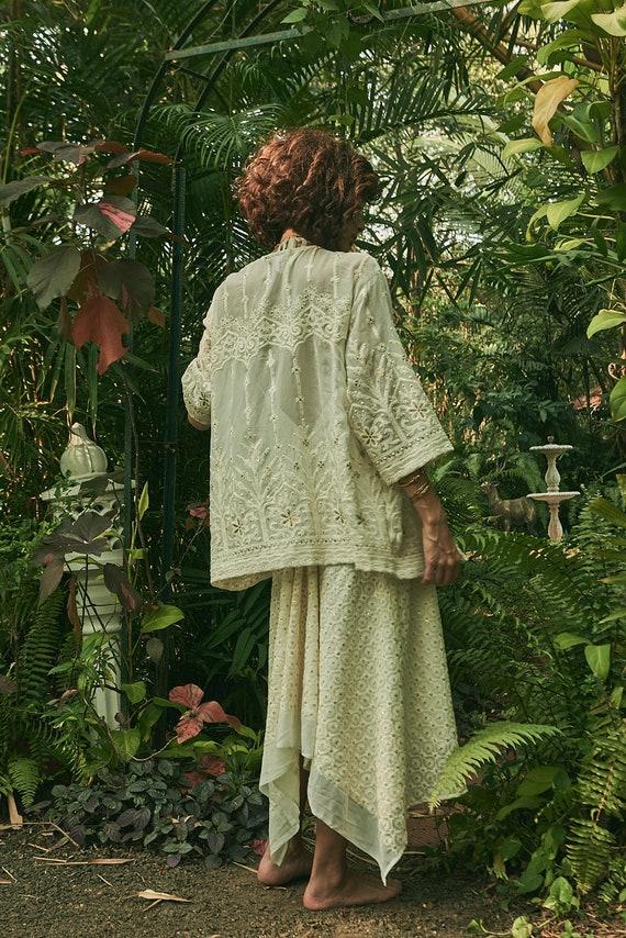 handmade jacket resortwear sequin boho floral kimono robe sequin jacket /'Enchanted Palace/' Midi Kimono bohemian white overcoat