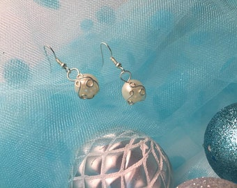 Handcrafted, wire wrapped earrings. Faux pearls on silver hooks.