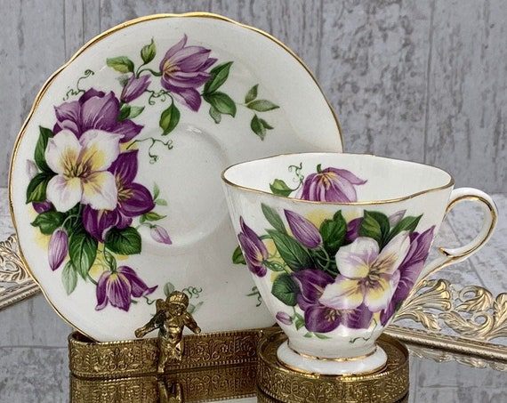 Vintage Floral Teacup, purple Clematis flowers Bone China Tea cup and saucer Gold edges footed Tea cup, gift for Her, Collectible
