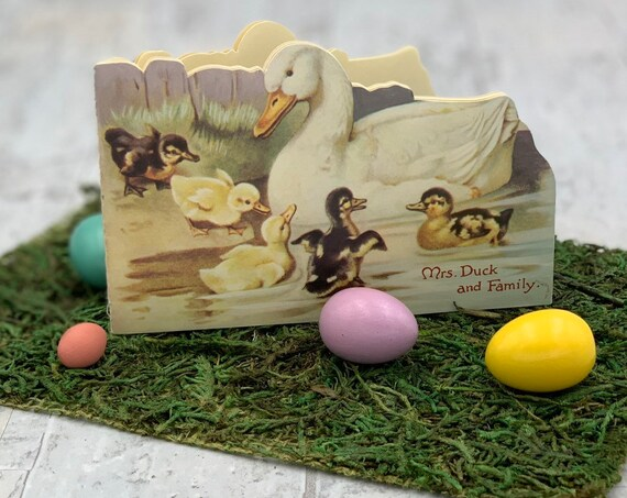 Easter Picture book, Mrs Duck and Family, Vintage Easter Picture book, Die cut reproduction Book