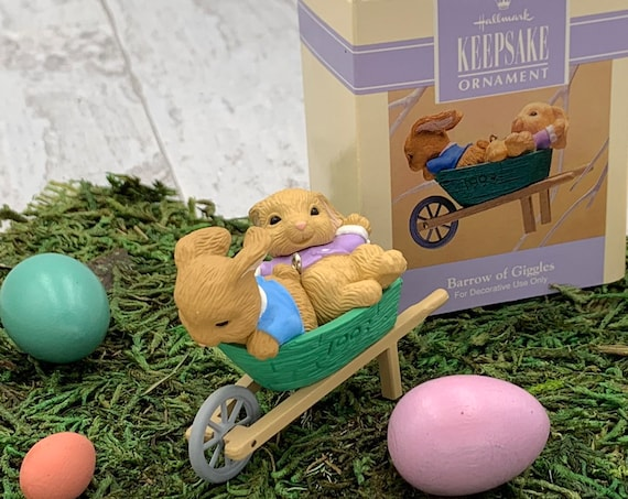 Vintage Barrow of Giggles Easter Hallmark Ornament, Easter Bunnies in a wheelbarrow, 1993 Collectible Hallmark Ornament