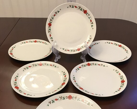 Vintage Rose China Dessert plates, set of 6, Seltmann Weiden Bavaria, Vintage Red Rose Pattern, Floral China plates, gift for Her, Gift