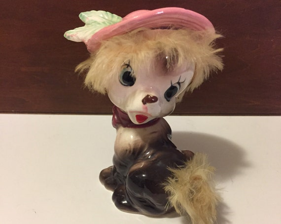 Vintage Puppy Dog figurine, pink hat Big Eyed Puppy with Fur, Wales of Japan, Soft fur puppy, collectible, Dog lovers gift