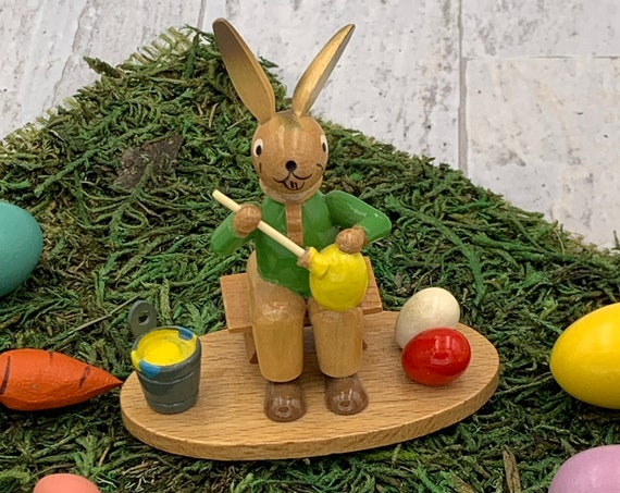 Vintage Easter Bunny Miniature, Erzgebirge Expertic Bunny painting Eggs, handmade miniatures, Collectible figurines, Easter decoration