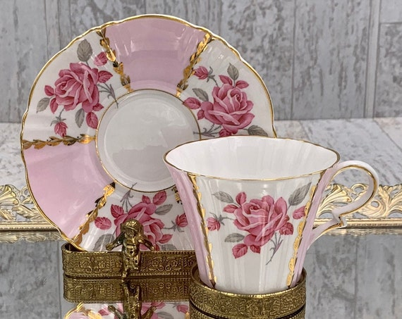 Pink Rose Teacup, Royal Standard Bone China Gold Gilt Tea cup