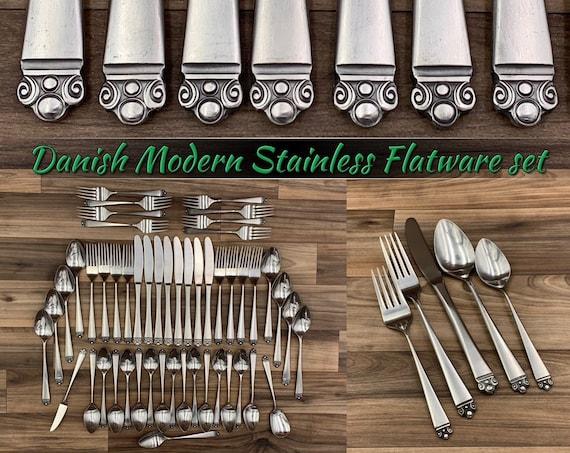 Vintage Flatware set Crown Point Danish Modern MCM Flatware Service for 8 Silverware set