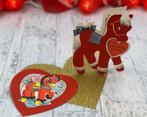 Vintage Flocked Valentines Day cards, set of 2 Pony themed die cut cards, red flocking, Valentine ephemera