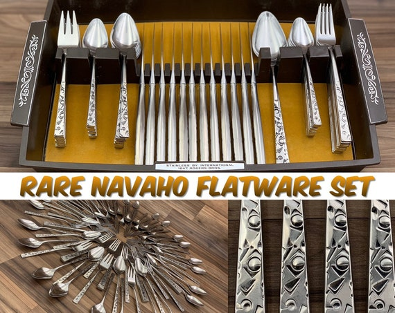 RARE Mid Century Flatware, Navaho by International Silver, Service for 12, in original Storage Tray, Stainless silverware