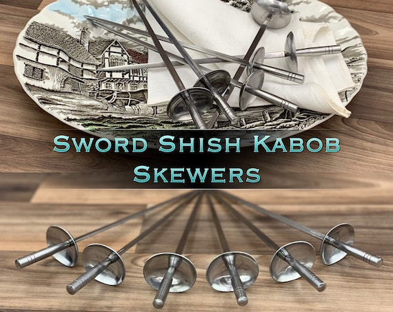 Vintage Sword Shish Kabob Skewers, Meat Skewers Unique Cutlery set