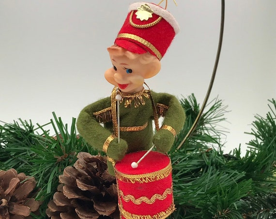 Vintage Pixie Elf with Drum Ornament, Christmas Elf Drum major, Elf with bendable legs arms, Made in Japan 1960s Vintage Christmas decor
