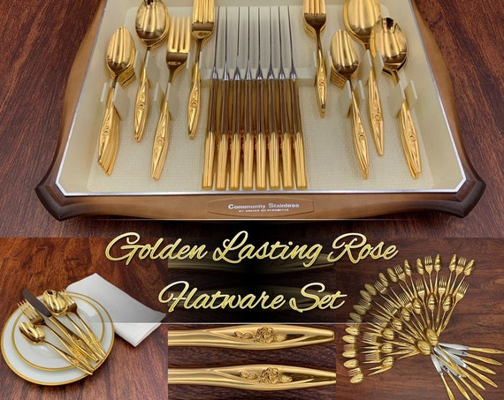 Vintage Gold Flatware, Gold Electroplate Flatware Set, Golden Lasting Rose, Hollywood Regency, Luxury Flatware, Wedding Gift
