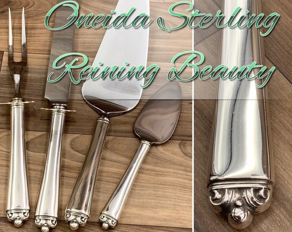 Vintage Oneida Sterling Silver Reining Beauty Carving set Dessert Server Cheese server Sterling Handle Stainless blade