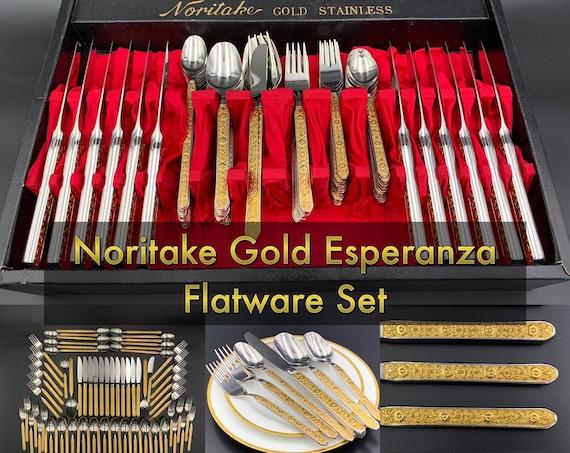 Vintage Noritake Gold Flatware set, Service for 12 in Storage tray with Serving set