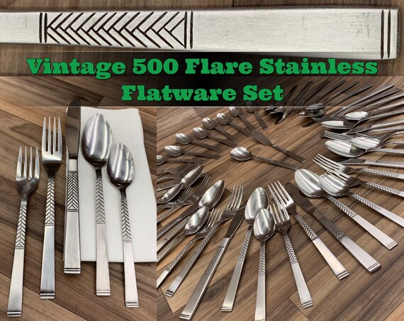 Vintage Flatware set Mint Condition Stanley Roberts Flare 500 MCM Flatware Service for 8 Silverware set